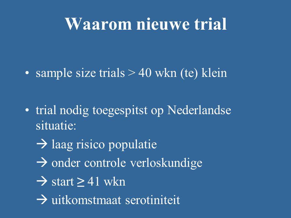 Waarom nieuwe trial sample size trials > 40 wkn (te) klein