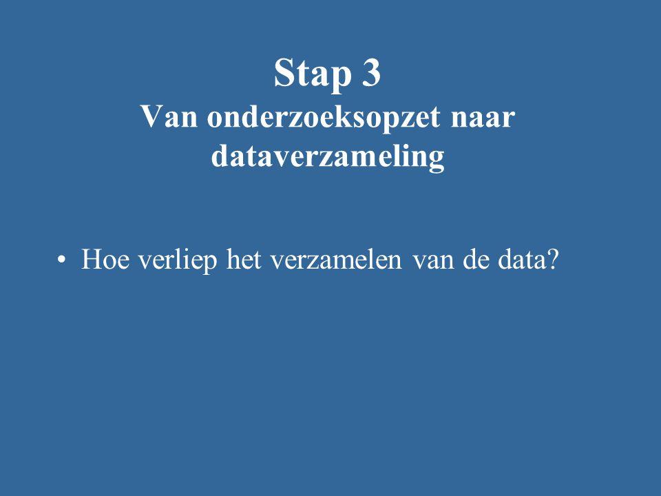 Stap 3 Van onderzoeksopzet naar dataverzameling