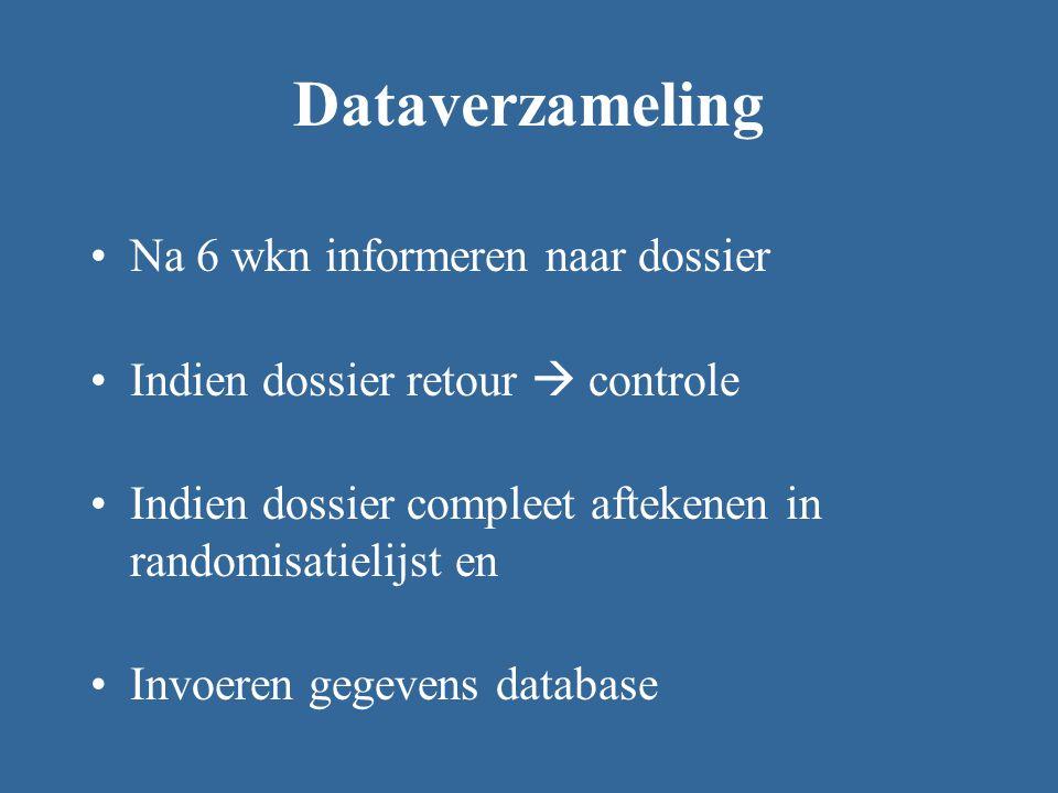 Dataverzameling Na 6 wkn informeren naar dossier