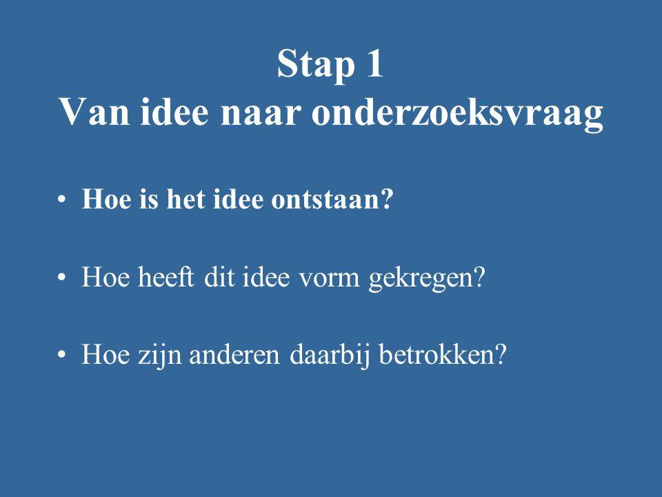 Stap 1 Van idee naar onderzoeksvraag