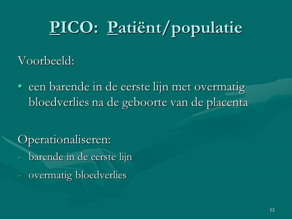 PICO: Patiënt/populatie