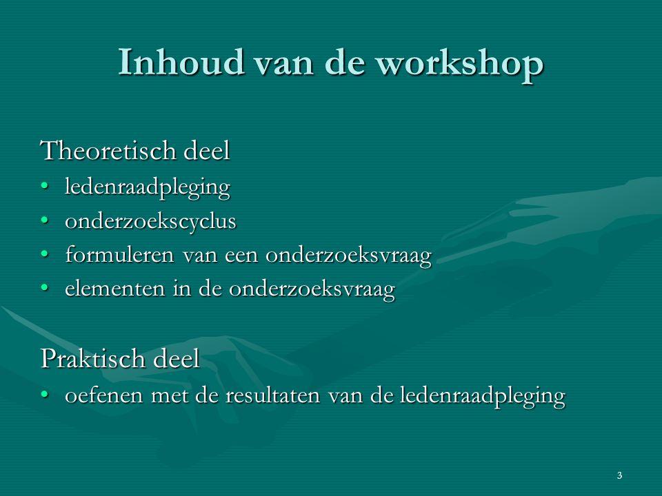 Inhoud van de workshop Theoretisch deel Praktisch deel