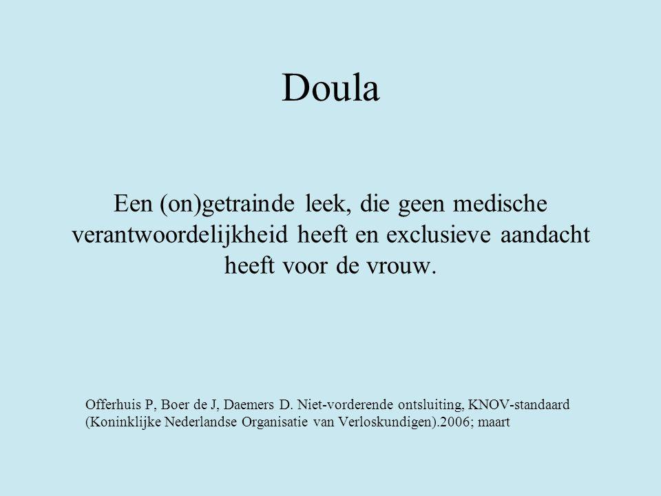 Doula Een (on)getrainde leek, die geen medische verantwoordelijkheid heeft en exclusieve aandacht heeft voor de vrouw.