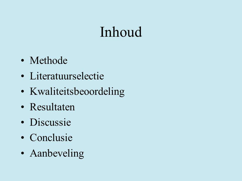 Inhoud Methode Literatuurselectie Kwaliteitsbeoordeling Resultaten