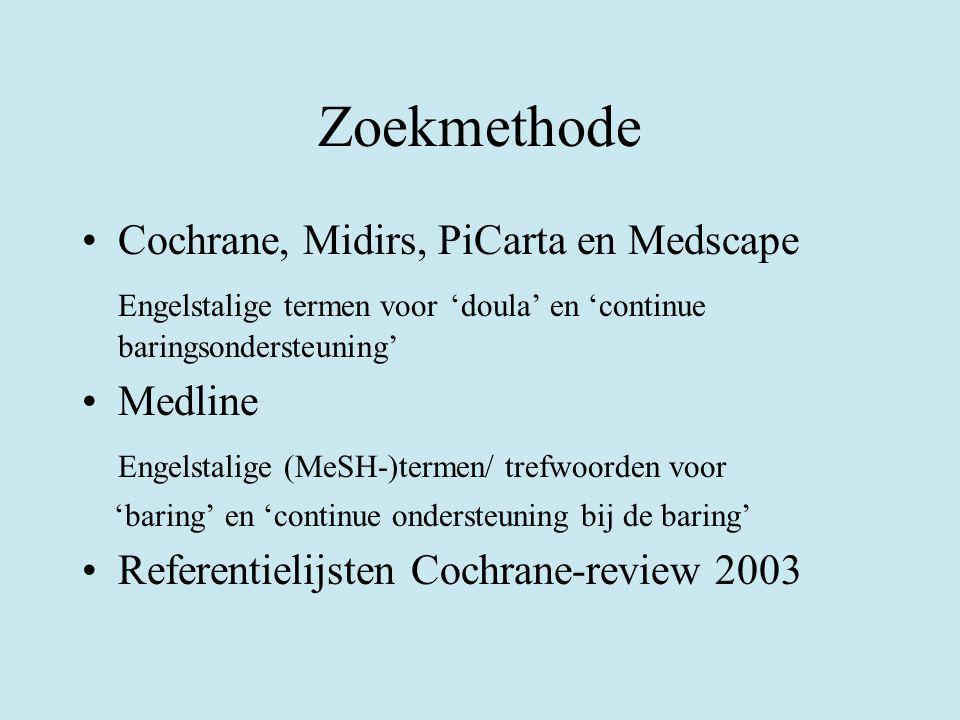 Zoekmethode Cochrane, Midirs, PiCarta en Medscape