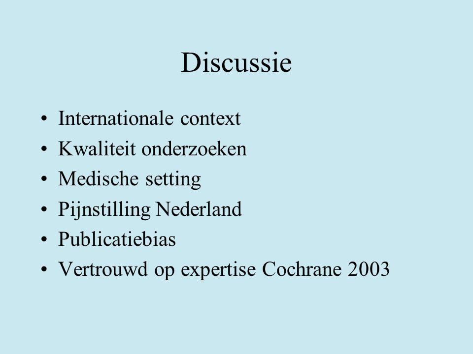 Discussie Internationale context Kwaliteit onderzoeken