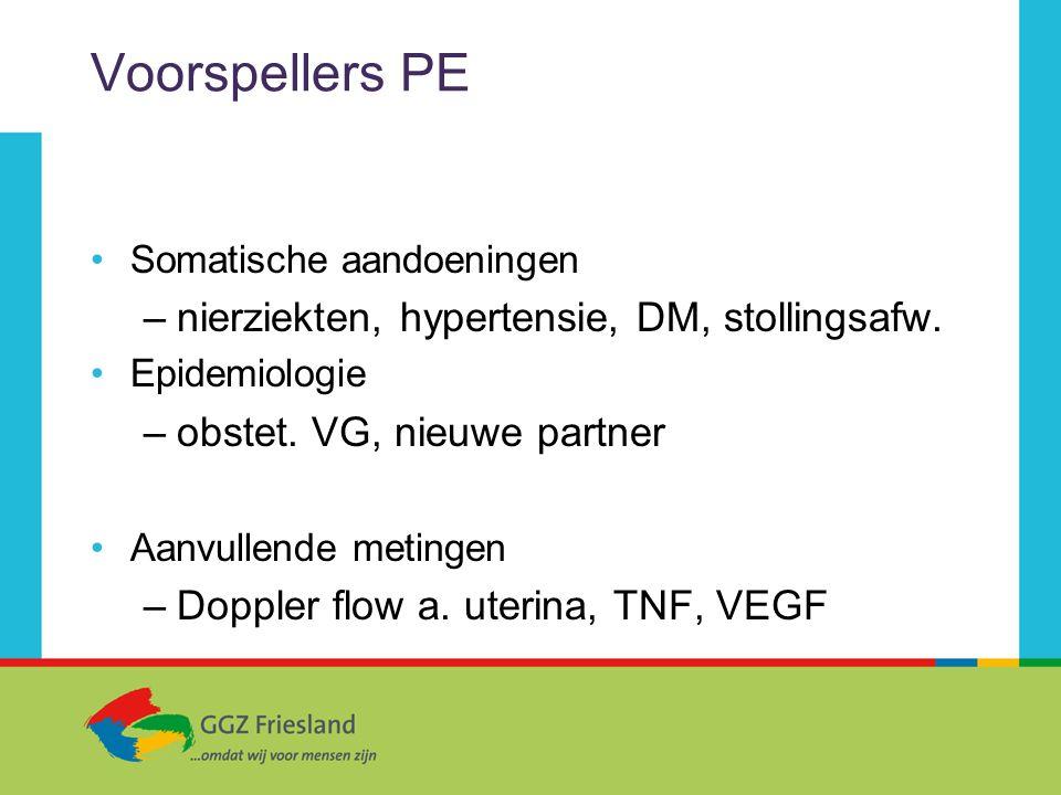 Voorspellers PE nierziekten, hypertensie, DM, stollingsafw.
