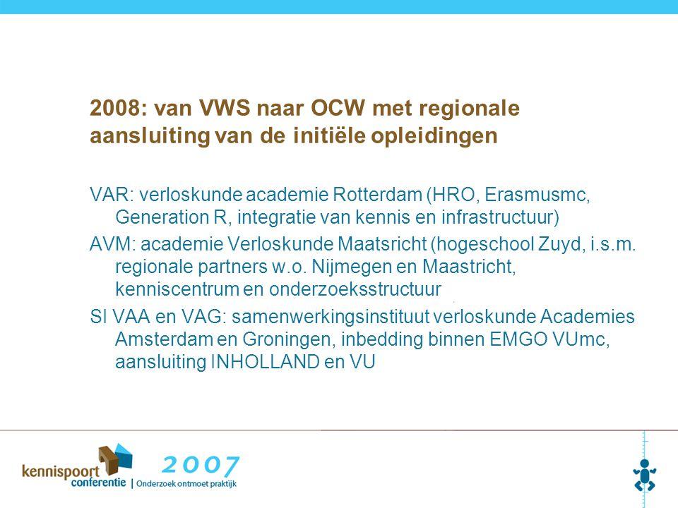 2008: van VWS naar OCW met regionale aansluiting van de initiële opleidingen