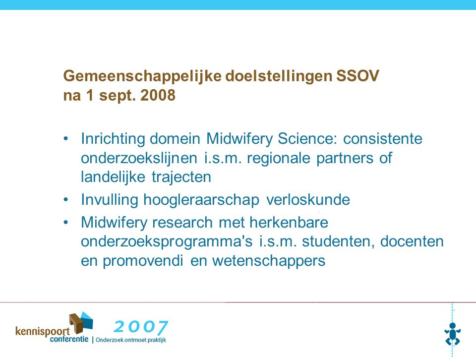 Gemeenschappelijke doelstellingen SSOV na 1 sept. 2008