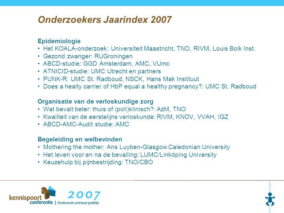 Onderzoekers Jaarindex 2007