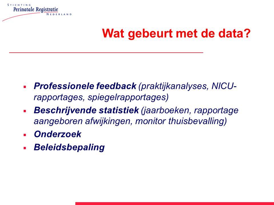 Wat gebeurt met de data Professionele feedback (praktijkanalyses, NICU-rapportages, spiegelrapportages)