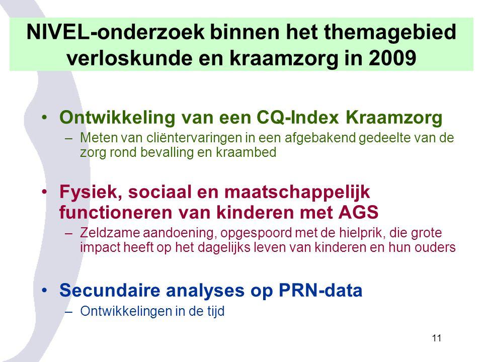 NIVEL-onderzoek binnen het themagebied verloskunde en kraamzorg in 2009