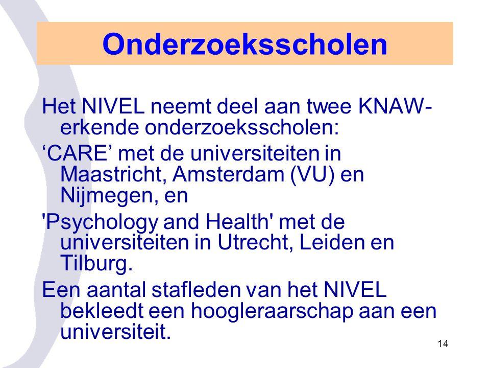 Onderzoeksscholen Het NIVEL neemt deel aan twee KNAW-erkende onderzoeksscholen: