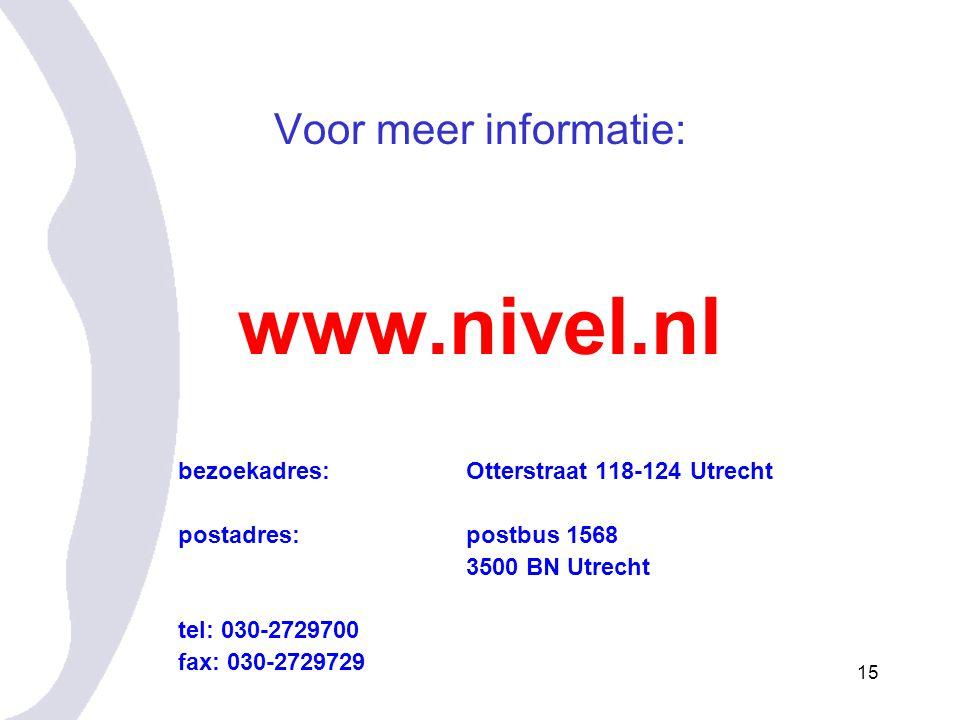www.nivel.nl Voor meer informatie: