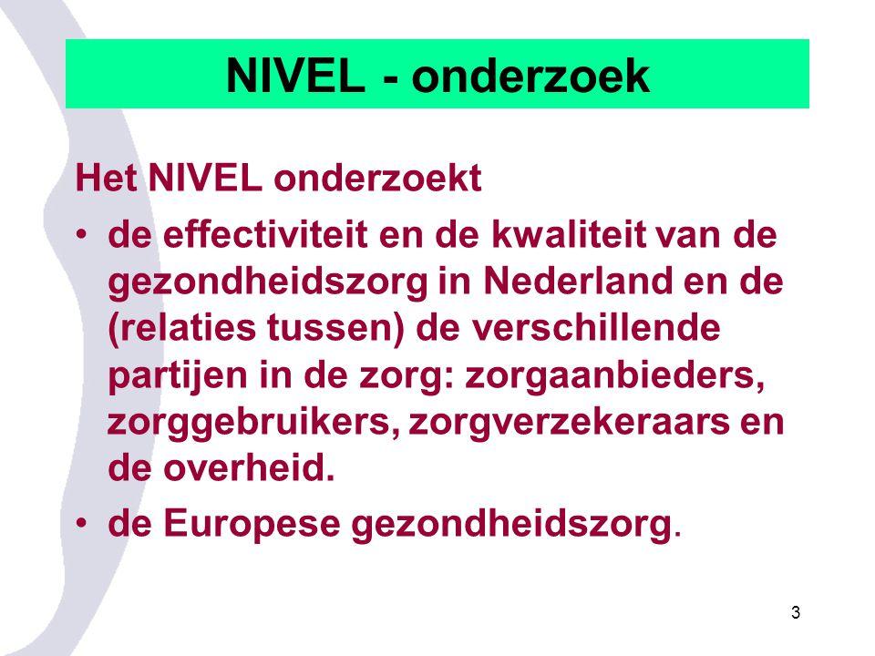 NIVEL - onderzoek Het NIVEL onderzoekt