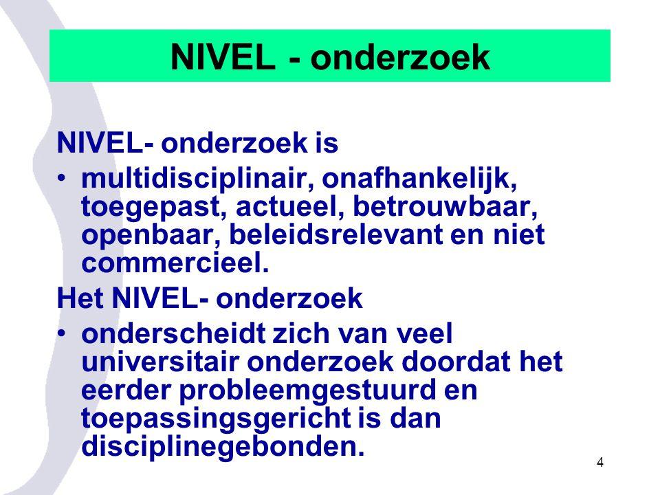 NIVEL - onderzoek NIVEL- onderzoek is