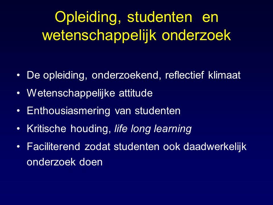 Opleiding, studenten en wetenschappelijk onderzoek