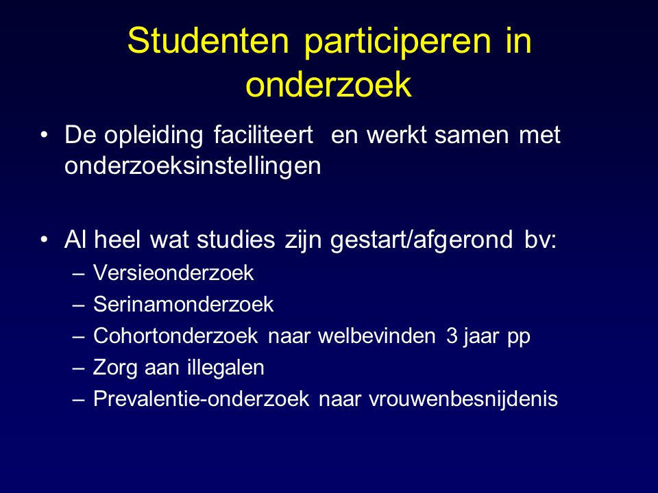 Studenten participeren in onderzoek