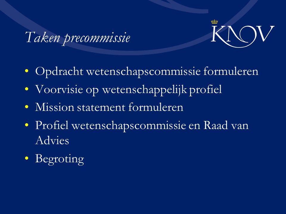 Taken precommissie Opdracht wetenschapscommissie formuleren