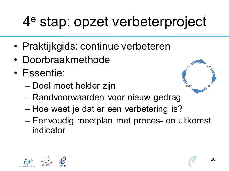 4e stap: opzet verbeterproject