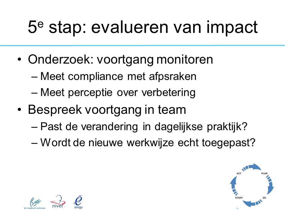 5e stap: evalueren van impact