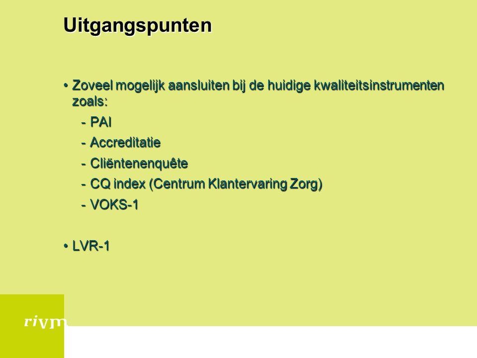 Uitgangspunten Zoveel mogelijk aansluiten bij de huidige kwaliteitsinstrumenten zoals: PAI. Accreditatie.