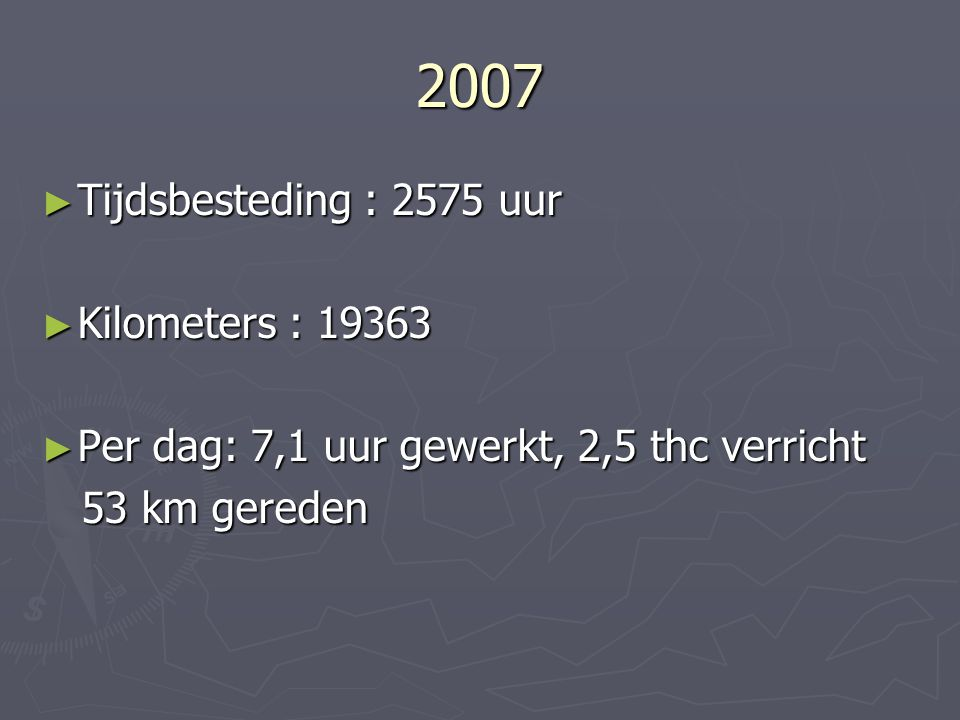 2007 Tijdsbesteding : 2575 uur Kilometers : 19363