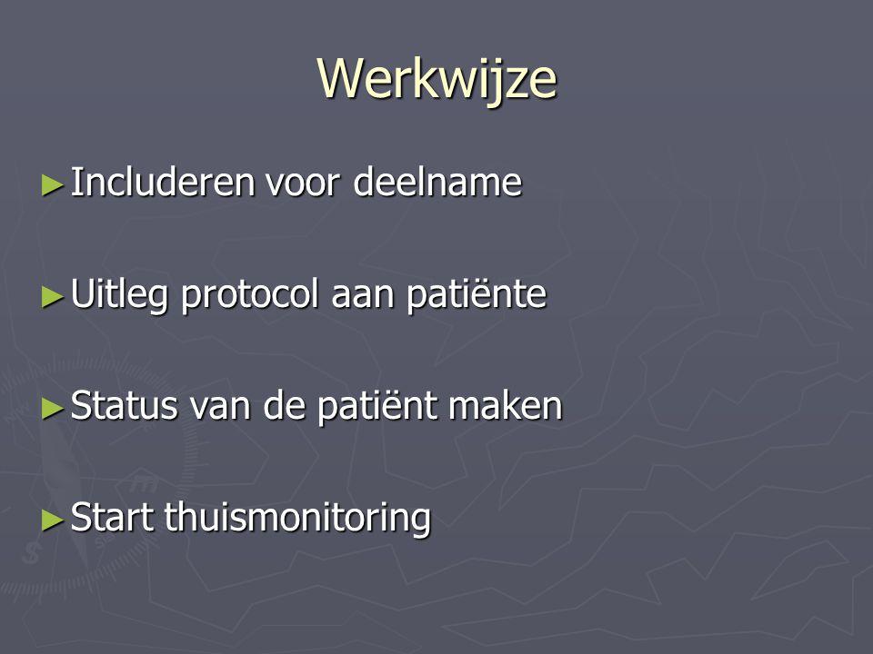 Werkwijze Includeren voor deelname Uitleg protocol aan patiënte