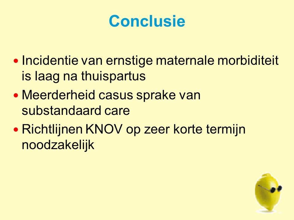 Conclusie Incidentie van ernstige maternale morbiditeit is laag na thuispartus. Meerderheid casus sprake van substandaard care.
