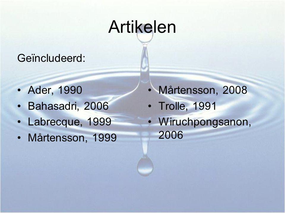Artikelen Geïncludeerd: Ader, 1990 Bahasadri, 2006 Labrecque, 1999