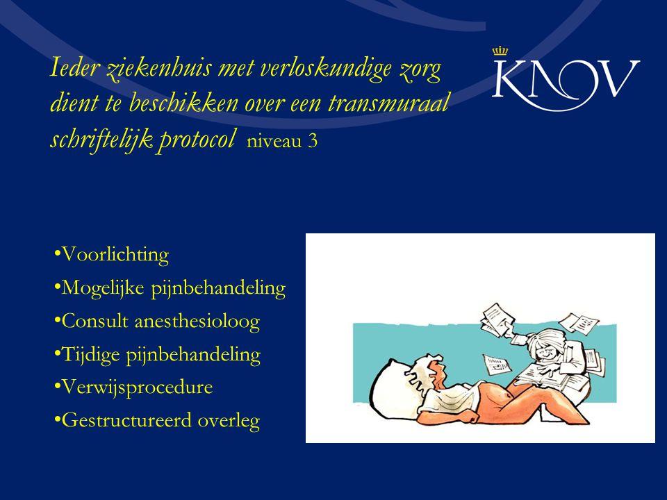 Ieder ziekenhuis met verloskundige zorg dient te beschikken over een transmuraal schriftelijk protocol niveau 3
