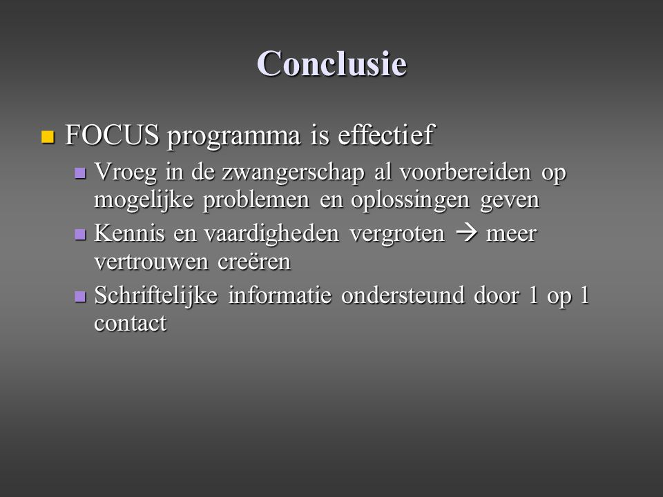 Conclusie FOCUS programma is effectief