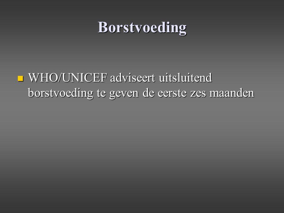Borstvoeding WHO/UNICEF adviseert uitsluitend borstvoeding te geven de eerste zes maanden