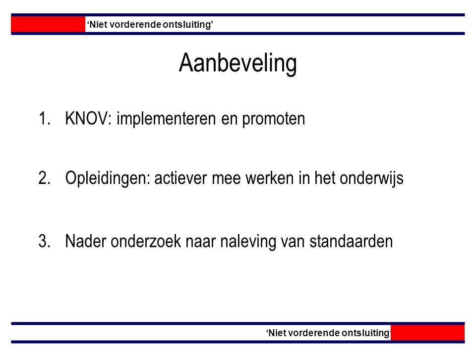 Aanbeveling KNOV: implementeren en promoten