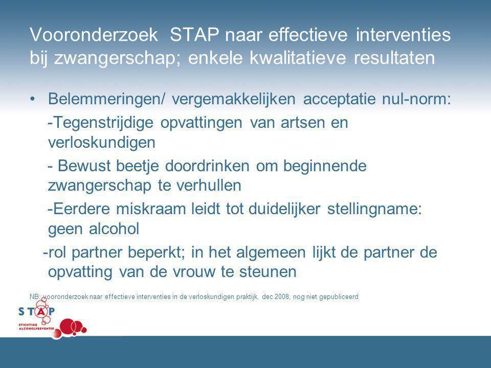 Vooronderzoek STAP naar effectieve interventies bij zwangerschap; enkele kwalitatieve resultaten