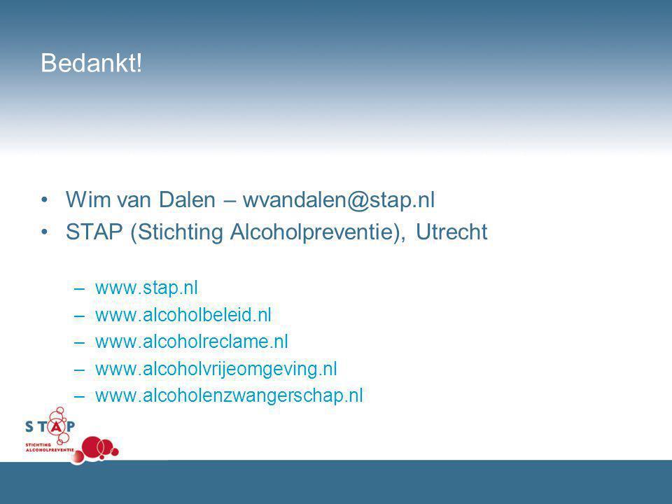 Bedankt! Wim van Dalen – wvandalen@stap.nl