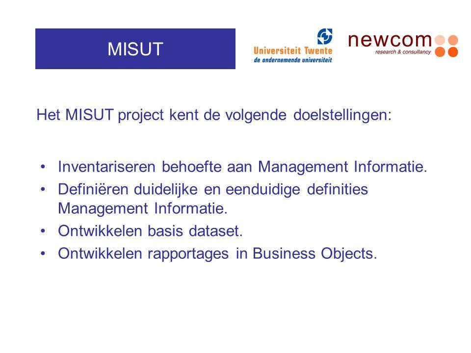 MISUT Het MISUT project kent de volgende doelstellingen:
