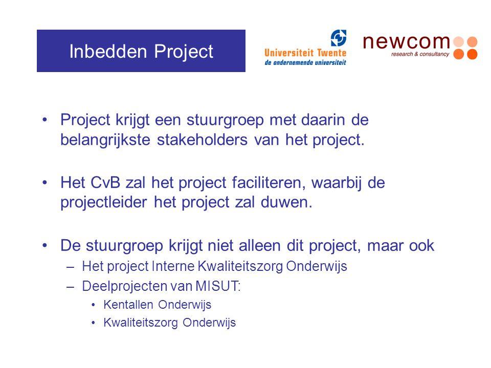 Inbedden Project Project krijgt een stuurgroep met daarin de belangrijkste stakeholders van het project.