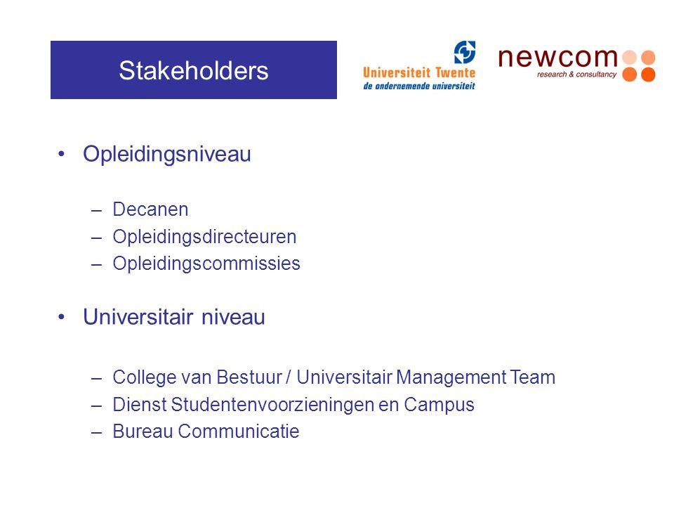 Stakeholders Opleidingsniveau Universitair niveau Decanen