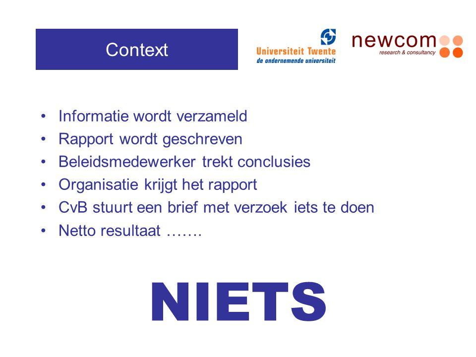 NIETS Context Informatie wordt verzameld Rapport wordt geschreven