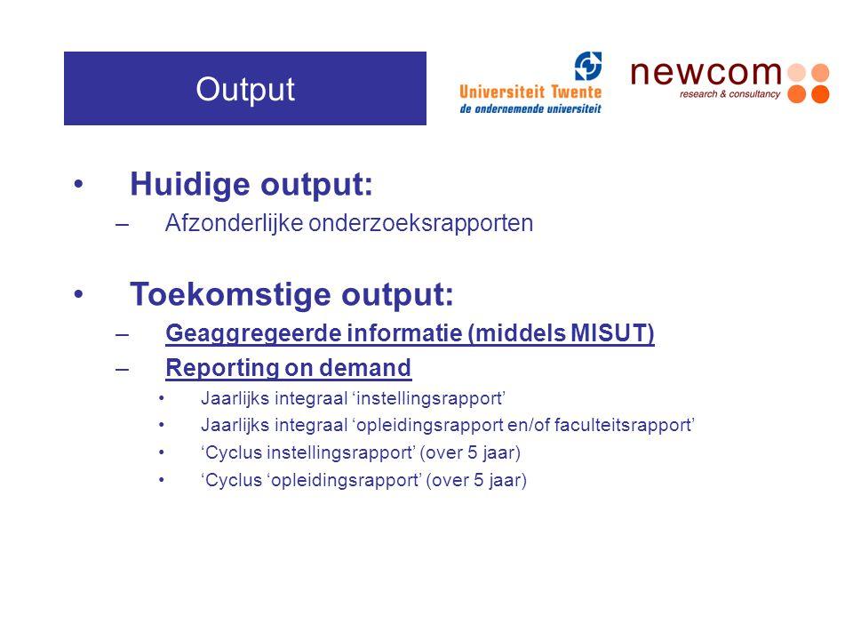 Output Huidige output: Toekomstige output: