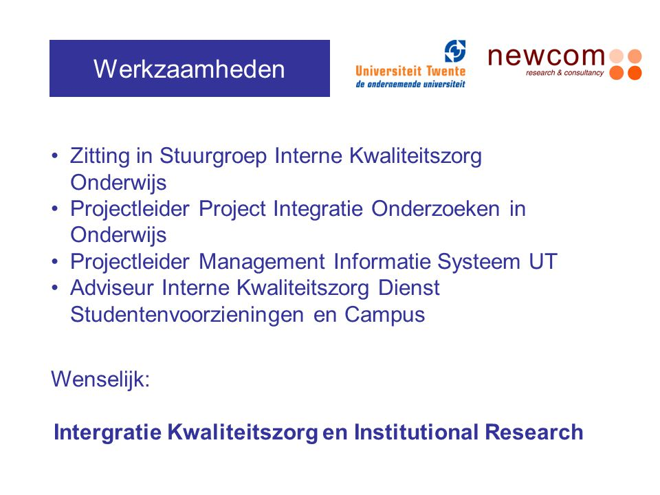 Intergratie Kwaliteitszorg en Institutional Research