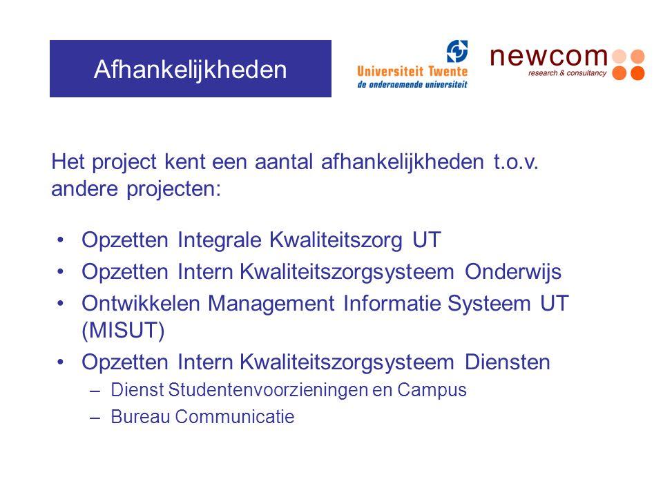 Afhankelijkheden Het project kent een aantal afhankelijkheden t.o.v. andere projecten: Opzetten Integrale Kwaliteitszorg UT.