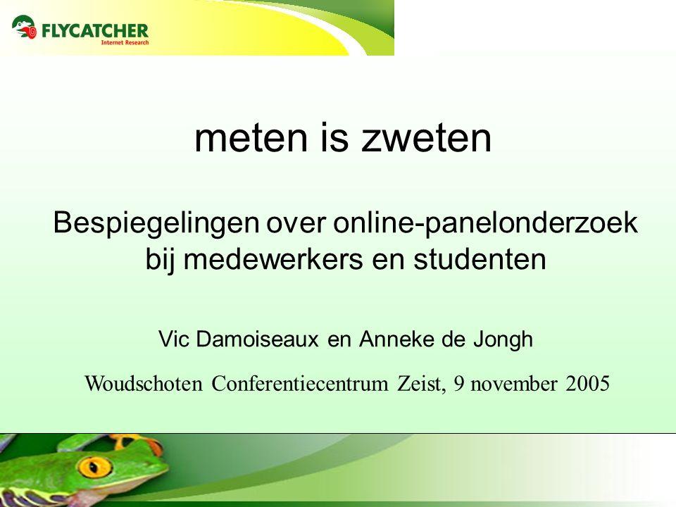 meten is zweten Bespiegelingen over online-panelonderzoek bij medewerkers en studenten. Vic Damoiseaux en Anneke de Jongh.
