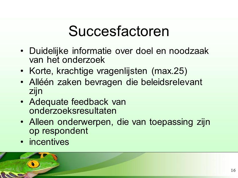 Succesfactoren Duidelijke informatie over doel en noodzaak van het onderzoek. Korte, krachtige vragenlijsten (max.25)