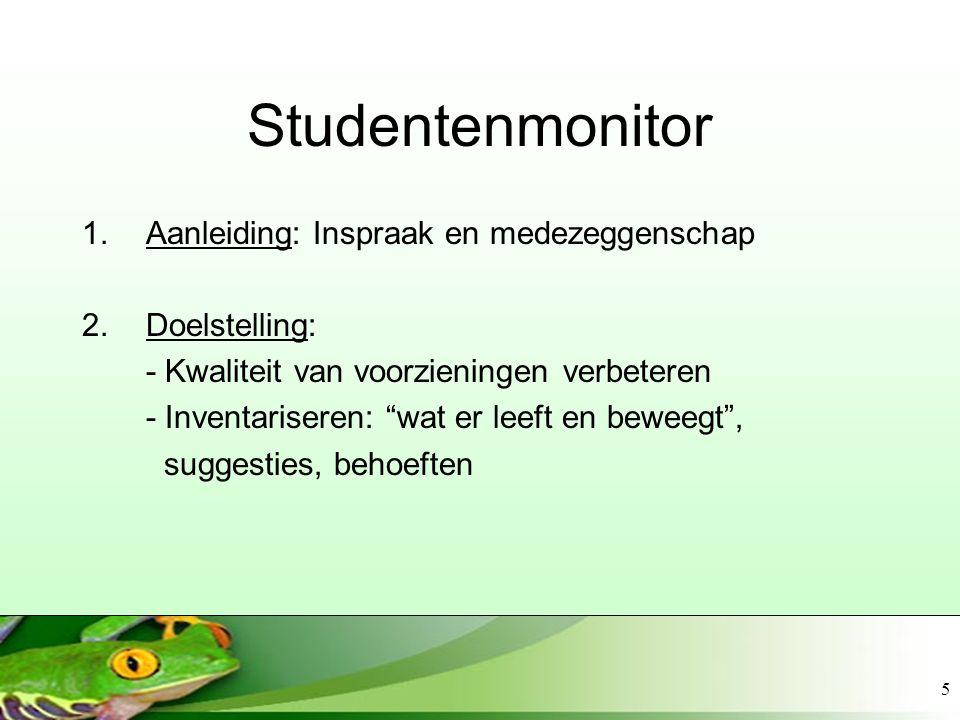 Studentenmonitor Aanleiding: Inspraak en medezeggenschap Doelstelling: