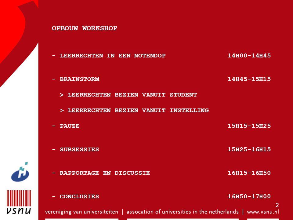 OPBOUW WORKSHOP - LEERRECHTEN IN EEN NOTENDOP 14H00-14H45