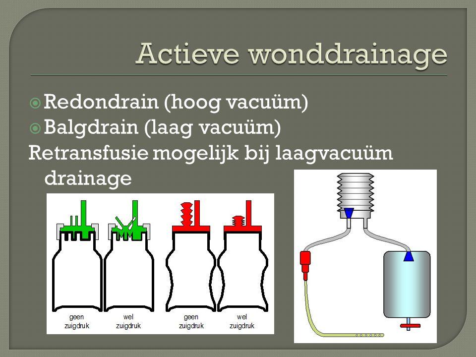 Actieve wonddrainage Redondrain (hoog vacuüm) Balgdrain (laag vacuüm)