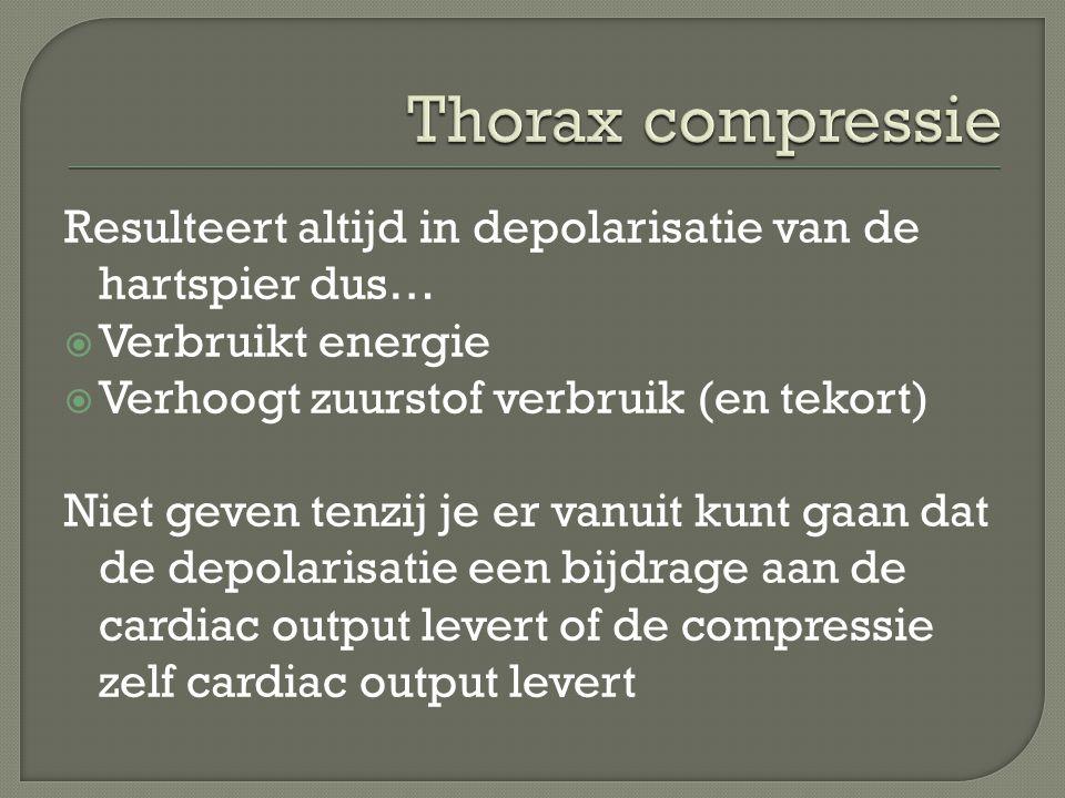 Thorax compressie Resulteert altijd in depolarisatie van de hartspier dus… Verbruikt energie. Verhoogt zuurstof verbruik (en tekort)