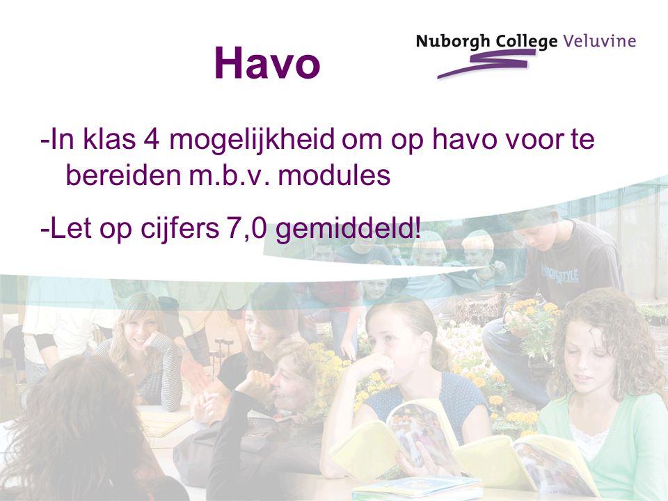 Havo -In klas 4 mogelijkheid om op havo voor te bereiden m.b.v.